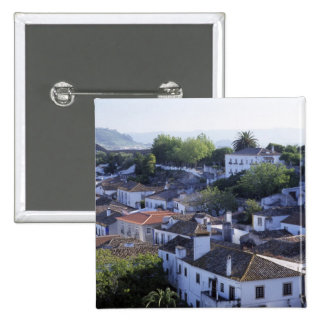 Portugal, Obidos. Elevated view of whitewashed 2 Inch Square Button