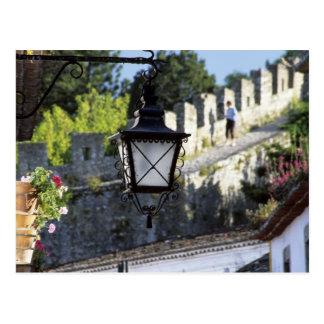 Portugal, Obidos. Iron streetlamp and 14th Postcard