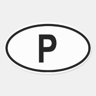 "Portugal ""P"" Oval Sticker"