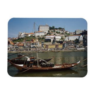 Portugal, Porto, Boat With Wine Barrels Rectangular Photo Magnet