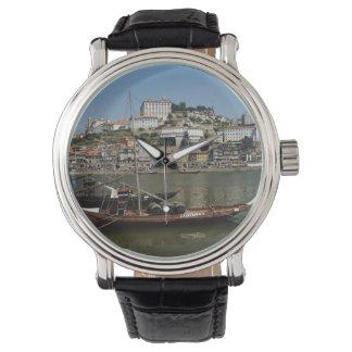 Portugal, Porto, Boat With Wine Barrels Wristwatch