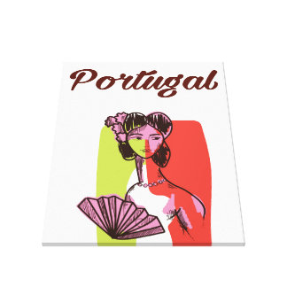 Portugal vintage style vacation poster canvas print