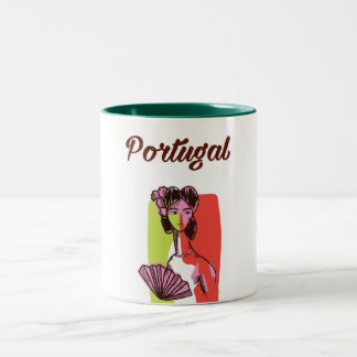 Portugal vintage style vacation poster Two-Tone coffee mug