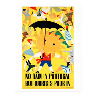 Portugal Vintage Travel Poster Restored Postcard