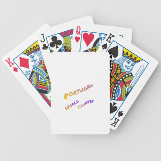 Portugal world country,  colorful text art bicycle playing cards