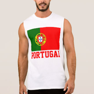 Portugal World Flag Text Sleeveless Shirt