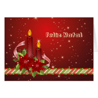 Portugese Christmas - Poinsettia and candles Card
