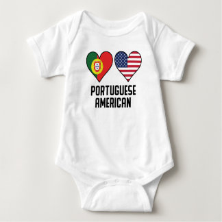 Portuguese American Heart Flags Baby Bodysuit
