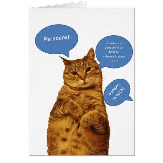 Portuguese: Aniversario - Gato Greeting Card