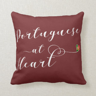Portuguese At Heart Throw Cushion, Portugal Throw Pillow