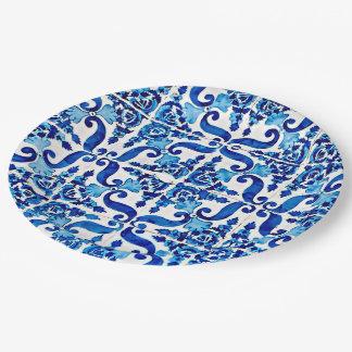 """Portuguese Azulejo Paper Plates 9"""""""
