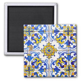Portuguese Azulejos Ceramic Tile Square Magnet