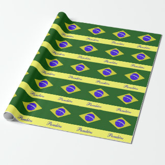 Portuguese Birthday Brazil Flag Wrapping Paper