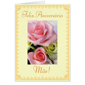 Portuguese: Birthday flowers Card