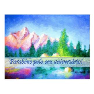 Portuguese Birthday Pink Mountain Blue Postcard