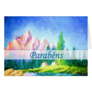 Portuguese Birthday Pink Mountain Painting Card