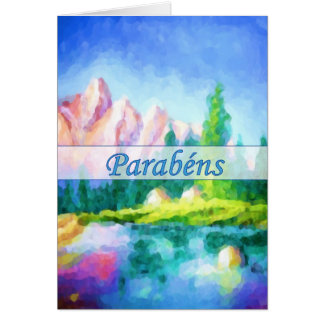 Portuguese Birthday Pink Mountain Vertical Card