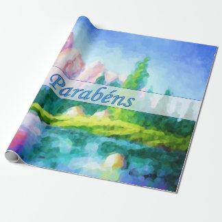 Portuguese Birthday Pink Mountain Wrap Paper