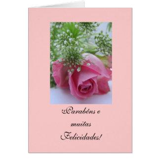 Portuguese: Birthday/Rosa: Parabéns! Greeting Card