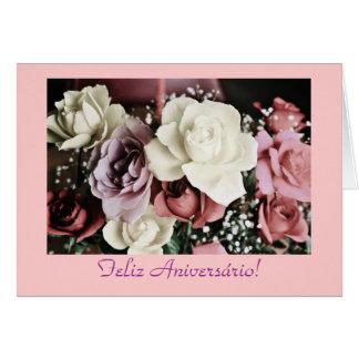 Portuguese: Birthday roses/ Rosas de aniversário Card