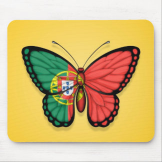 Portuguese Butterfly Flag on Yellow Mouse Pad