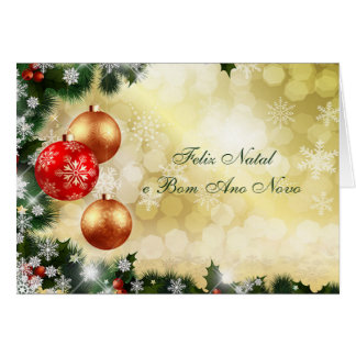 Portuguese Chrismas, New Year- baubles, snowflakes Greeting Card