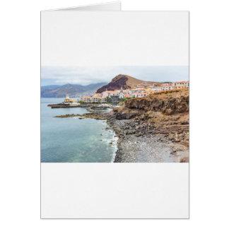 Portuguese coast with sea beach mountains village card