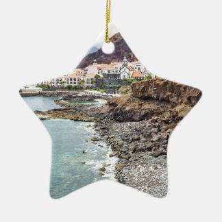 Portuguese coast with sea beach mountains village ceramic ornament