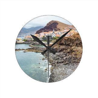 Portuguese coast with sea beach mountains village clock