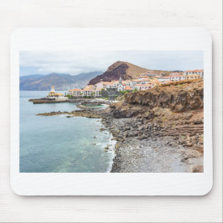 Portuguese coast with sea beach mountains village mouse pad