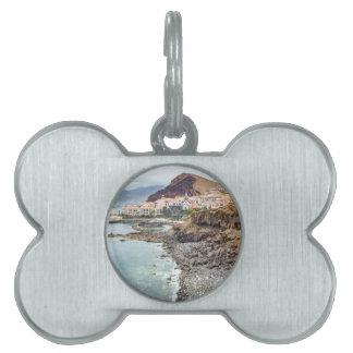 Portuguese coast with sea beach mountains village pet name tag