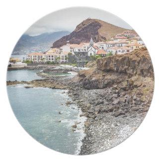 Portuguese coast with sea beach mountains village plate
