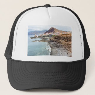 Portuguese coast with sea beach mountains village trucker hat