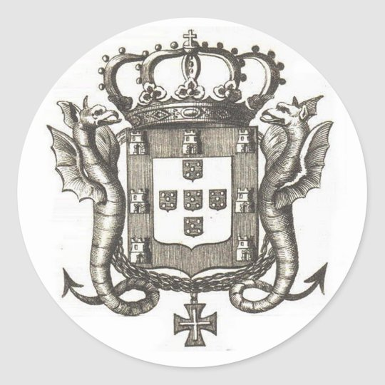 portuguese crest classic round sticker. Black Bedroom Furniture Sets. Home Design Ideas