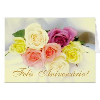 Portuguese: Feliz Aniversario! roses beije colors Greeting Card