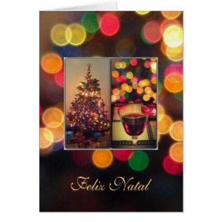 Portuguese: Feliz Natal - Christmas lights Greeting Card
