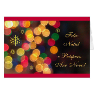 Portuguese: Feliz Natal / luzes Merry Christmas Greeting Card