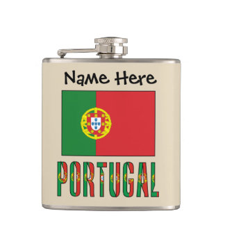 Portuguese Flag and Portugal with Name Hip Flask