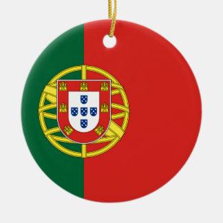 Portuguese Flag Round Ceramic Ornament