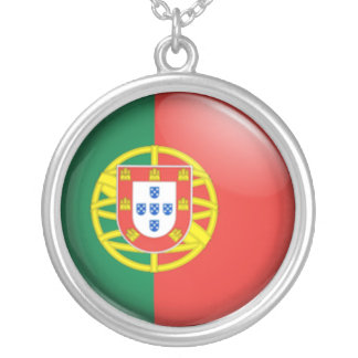 Portuguese flag silver plated necklace