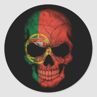 Portuguese Flag Skull on Black Classic Round Sticker