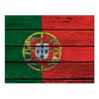 Portuguese Flag with Rough Wood Grain Effect Postcard