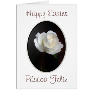 Portuguese: Happy Easter white rose Greeting Card