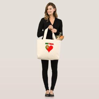 Portuguese heart large tote bag