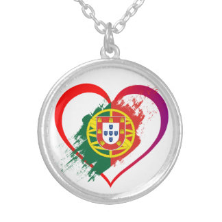 Portuguese heart silver plated necklace