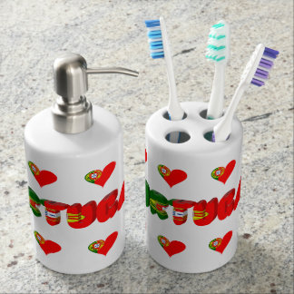 Portuguese heart soap dispenser and toothbrush holder