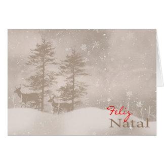 Portuguese Language Happy Holidays Stylish Greeting Card