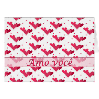 Portuguese Love Red Hearts on White Card