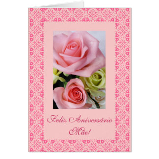 Portuguese: Mom's birthday roses Card