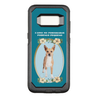 Portuguese Podengo Pequeno on Teal Floral OtterBox Commuter Samsung Galaxy S8 Case